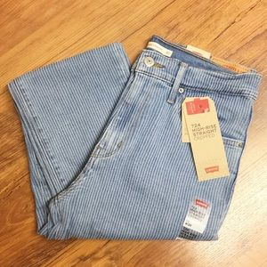 Levi's 724 High Rise Straight cropped striped